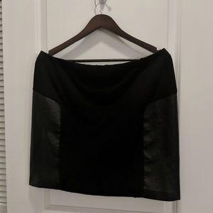 DKNY Leather detail miniskirt